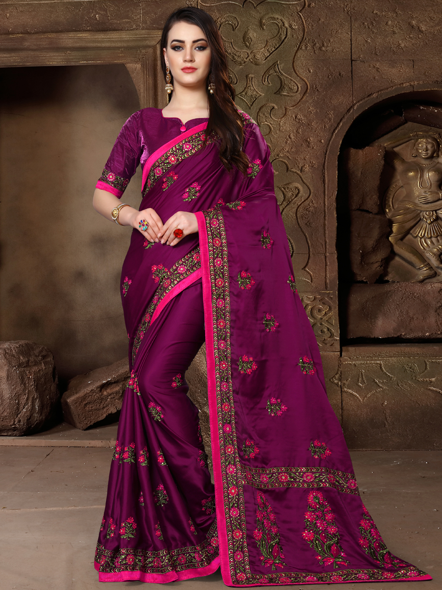 Red Violet Silk Embroidered Party Saree