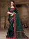 Pine Green Silk Embroidered Party Saree