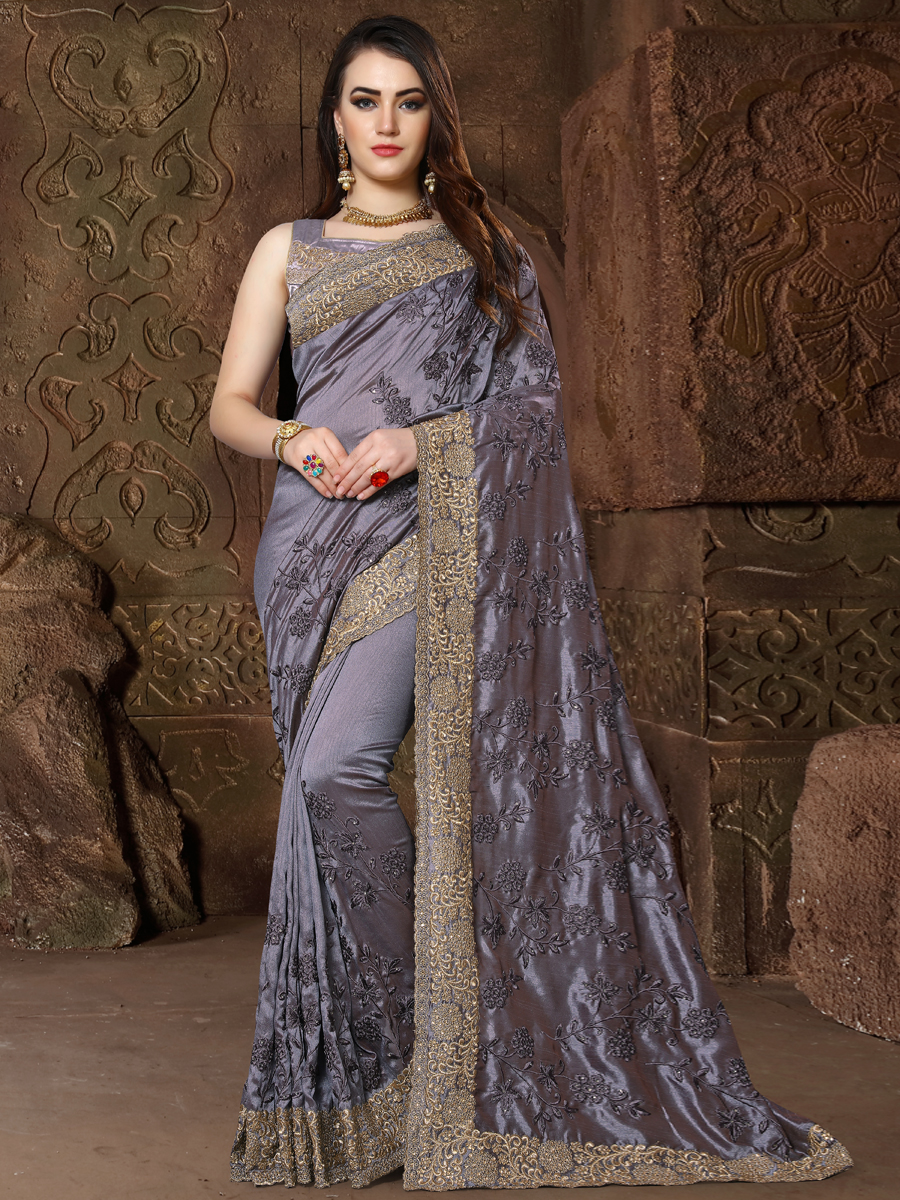 Arsenic Gray Silk Embroidered Party Saree