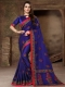 Dark Blue Silk Embroidered Party Saree
