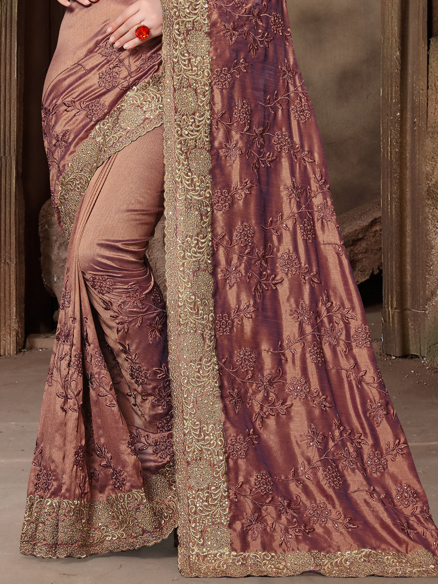 Salmon Orange Silk Embroidered Party Saree