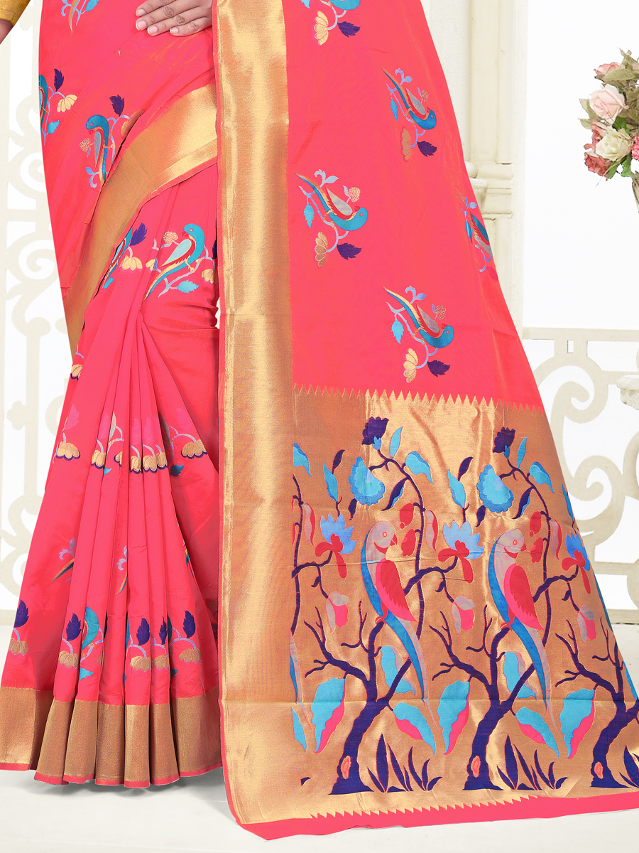 Persimmon Red Banarasi Silk Festival Handwoven Saree