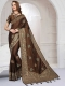 Russet Brown Satin Silk Embroidered Party Saree