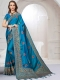 Deep Sky Blue Satin Silk Embroidered Party Saree
