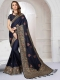 Sapphire Blue Satin Silk Embroidered Party Saree