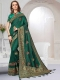 Midnight Green Satin Silk Embroidered Party Saree