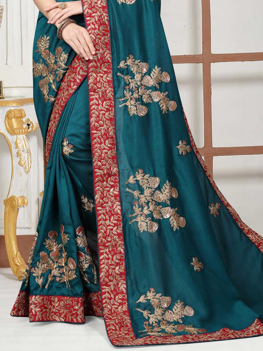 Teal Blue Satin Silk Embroidered Party Saree