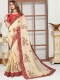 Beige Yellow Satin Silk Embroidered Party Saree