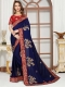 Navy Blue Satin Silk Embroidered Party Saree