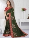 Fern Green Satin Silk Embroidered Party Saree