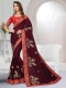 Maroon Satin Silk Embroidered Party Saree