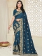 Midnight Green  Silk Embroidered Party Saree