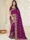Byzantium Purple Silk Embroidered Party Saree