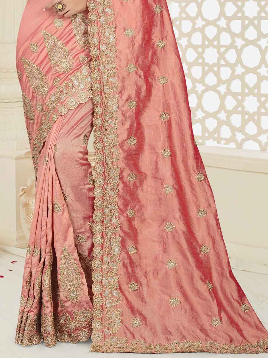 Coral Pink Silk Embroidered Party Saree