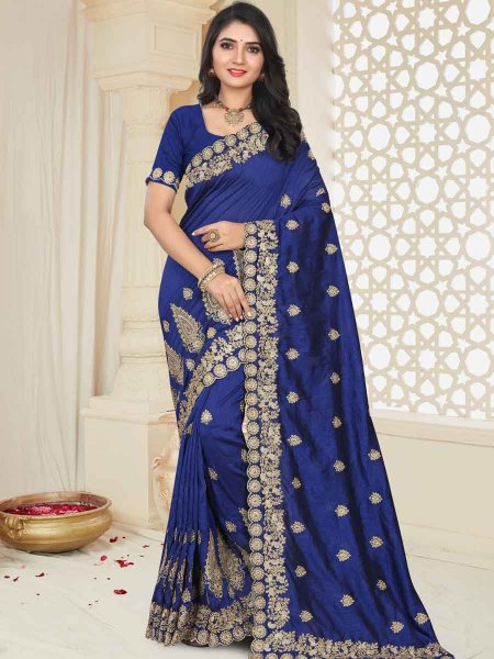 Navy Blue Silk Embroidered Party Saree