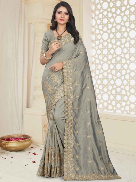 Gray Silk Embroidered Party Saree
