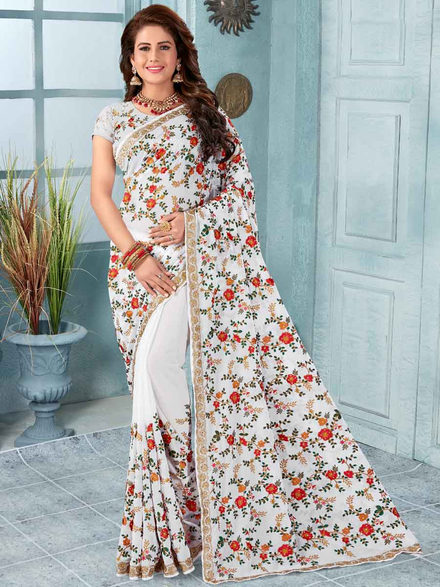 White Faux Georgette Embroidered Party Saree