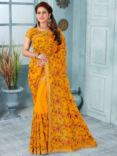 Mustard Yellow Faux Georgette Embroidered Party Saree