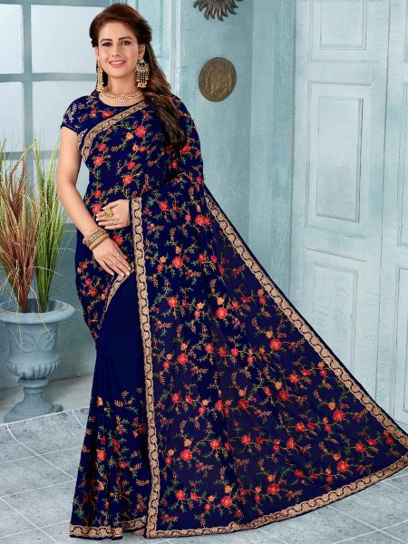 Navy Blue Faux Georgette Embroidered Party Saree