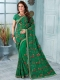 Pigment Green Faux Georgette Embroidered Party Saree