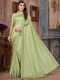 Moss Green Silk Plain Party Saree