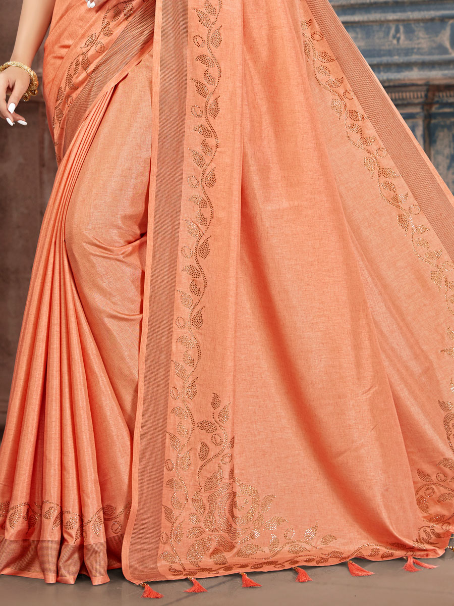 Salmon Orange Silk Plain Party Saree