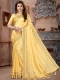 Light Yellow Silk Plain Party Saree