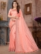 Light Pink Silk Plain Party Saree