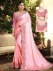 Salmon Pink Satin Georgette Embroidered Party Saree
