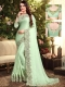 Celadon Green Satin Georgette Embroidered Party Saree