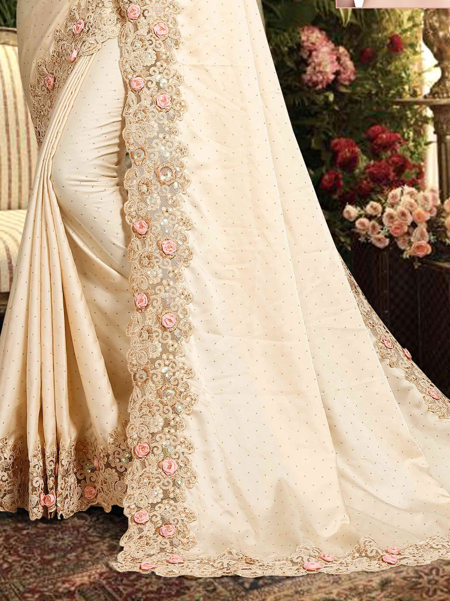Cream Yellow Satin Georgette Embroidered Party Saree