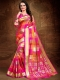Magenta Pink and Coral Orange Art Silk Handwoven Festival Saree