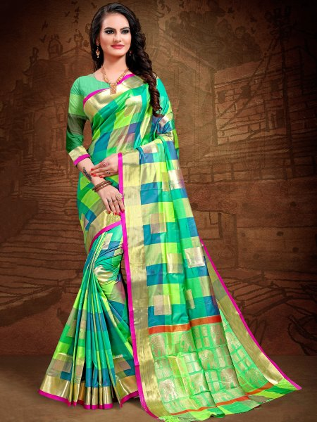 Parrot Green and Bondi Blue Art Silk Handwoven Festival Saree