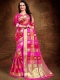 Magenta Pink and Venetian Red Art Silk Handwoven Festival Saree