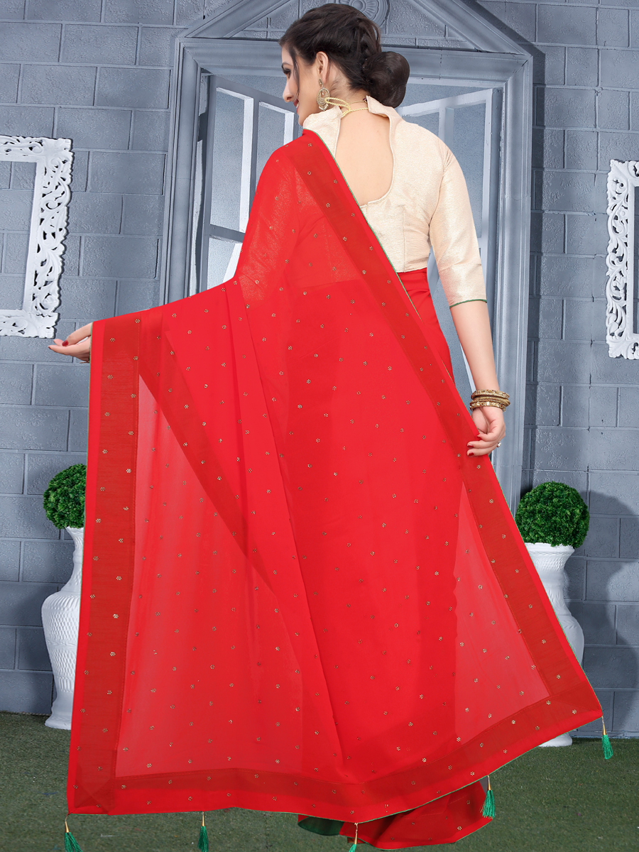 Rose Madder Red Faux Georgette Plain Casual Saree
