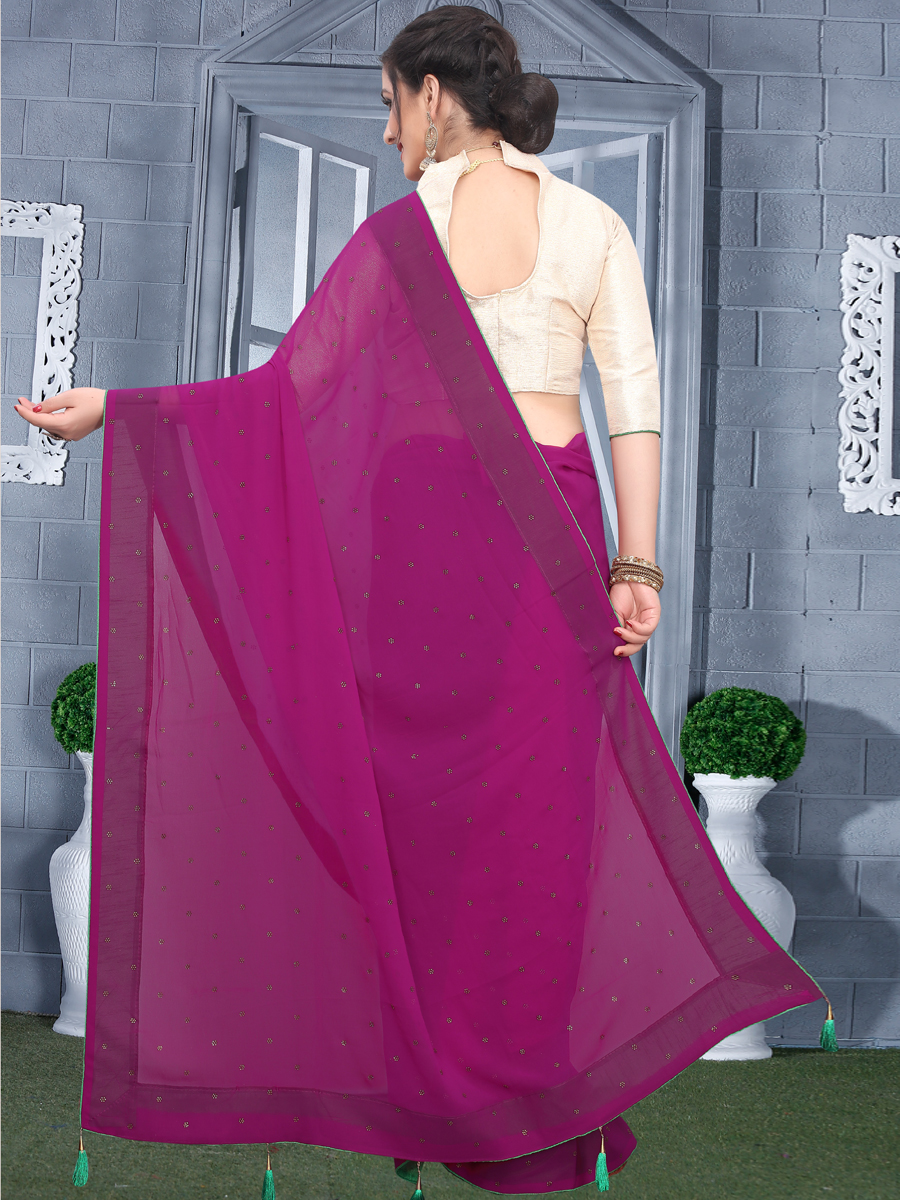 Wine Red Faux Georgette Plain Casual Saree