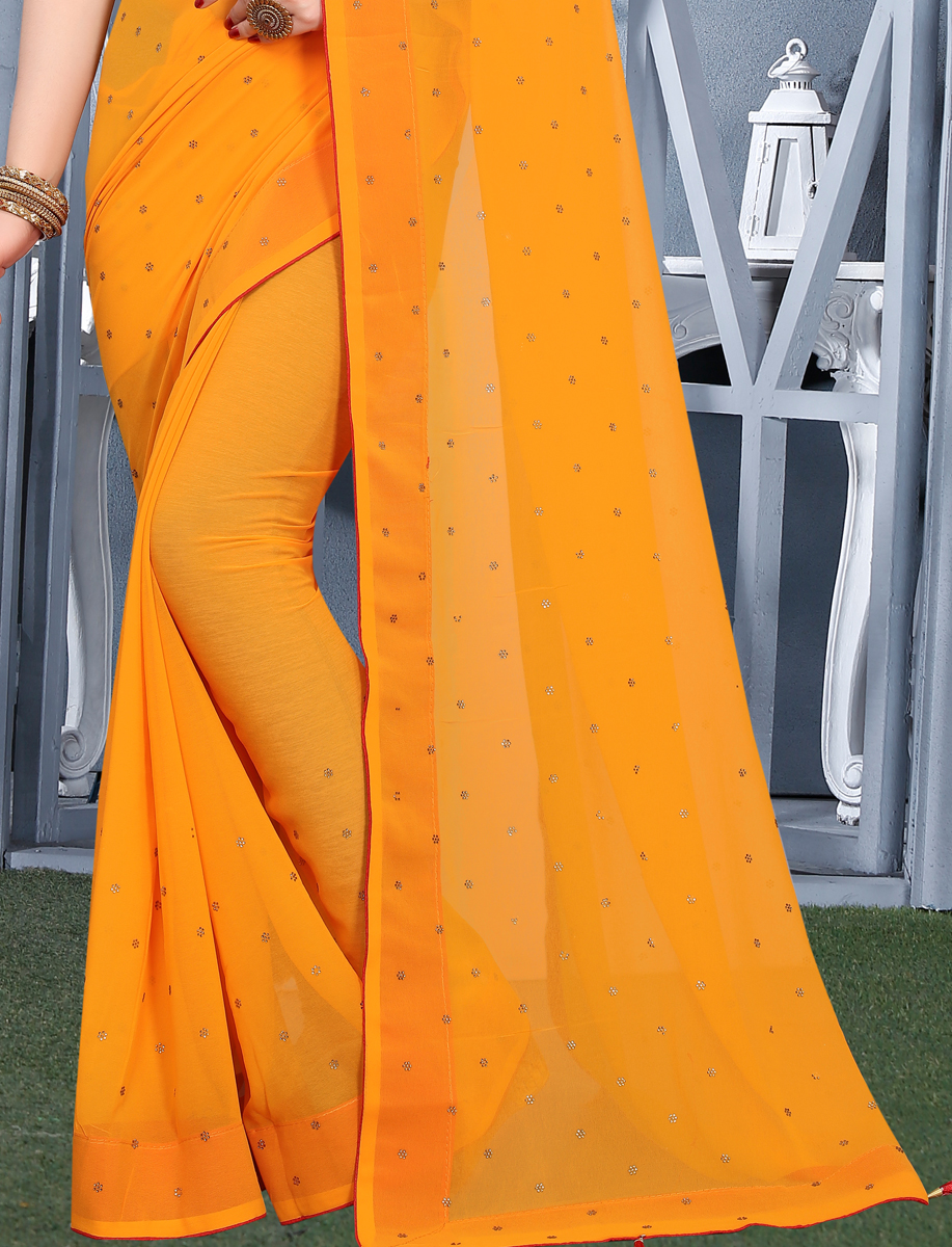 Mustard Yellow Faux Georgette Plain Casual Saree