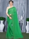 Dark Green Faux Georgette Plain Casual Saree