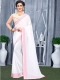 White Faux Georgette Plain Casual Saree