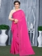 Cerise Pink Faux Georgette Plain Casual Saree