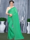 Parrot Green Faux Georgette Plain Casual Saree