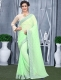 Light Green Faux Georgette Plain Casual Saree