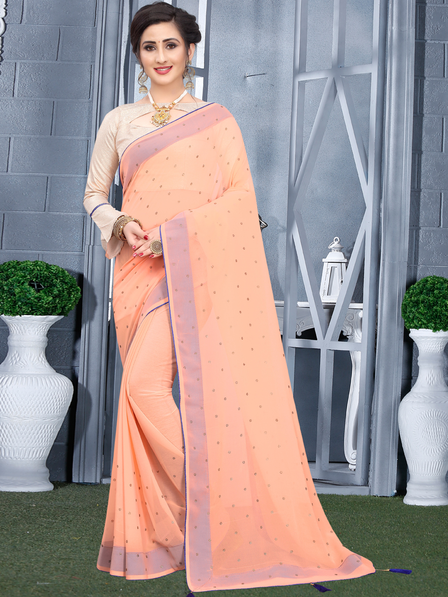 Light Coral Orange Faux Georgette Plain Casual Saree