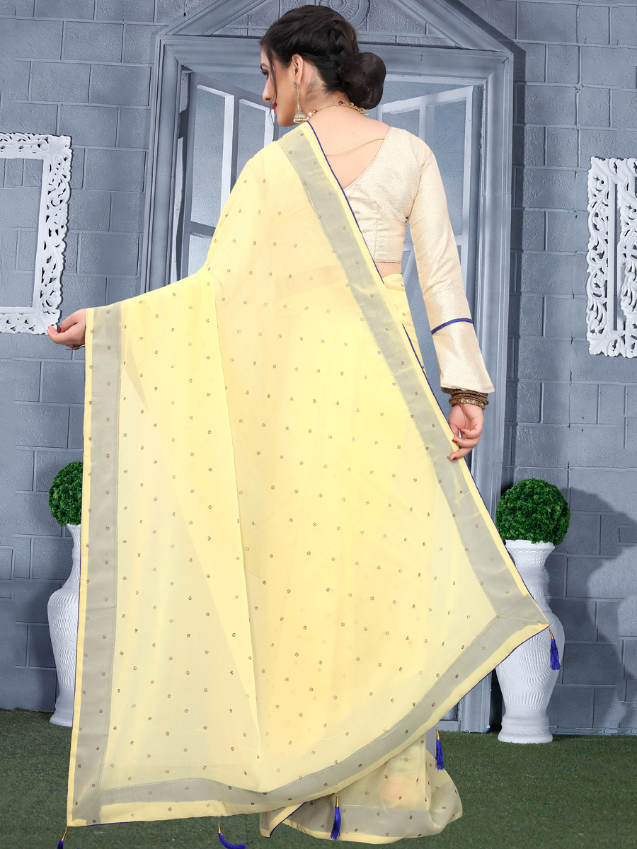 Light Yellow Faux Georgette Plain Casual Saree