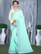 Sky Blue Faux Georgette Plain Casual Saree