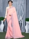Light Pink Faux Georgette Plain Casual Saree