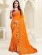 Pumpkin Orange Faux Georgette Embroidered Party Saree