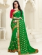 Dark Green Faux Georgette Embroidered Party Saree