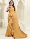 Buff Yellow Faux Georgette Embroidered Party Saree