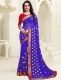 Royal Blue Faux Georgette Embroidered Party Saree